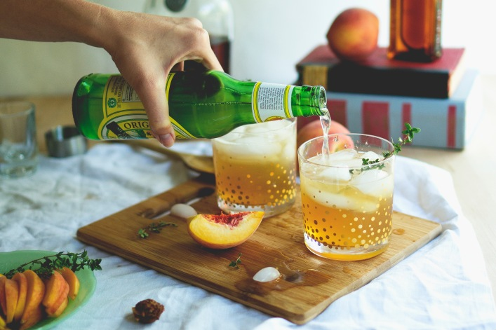 peach bourbon cocktail prep