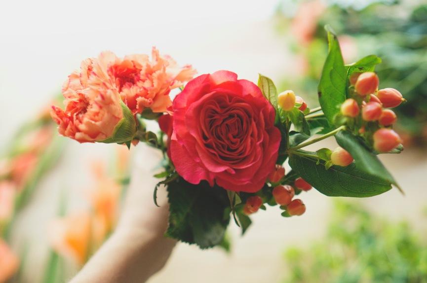 peach rose floral prep