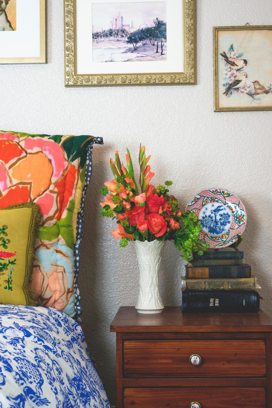 peach rose florals nightstand