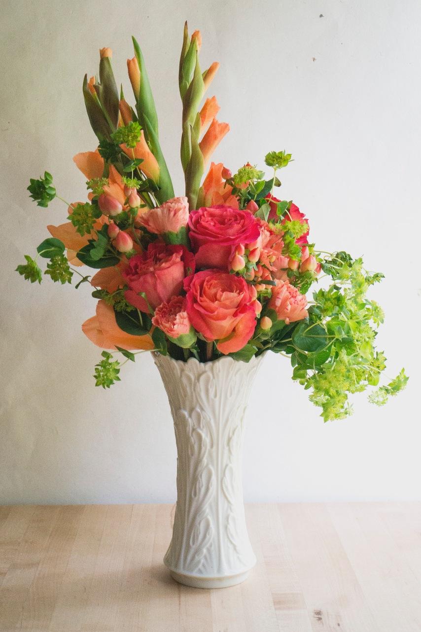 peach rose gladiolus floral