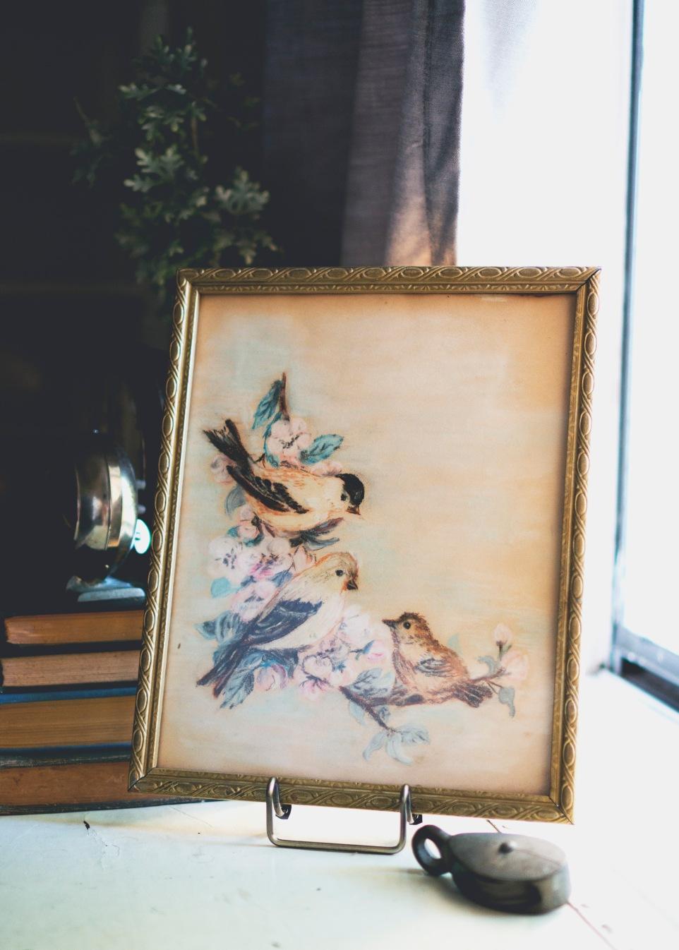 vintage pastel bird painting