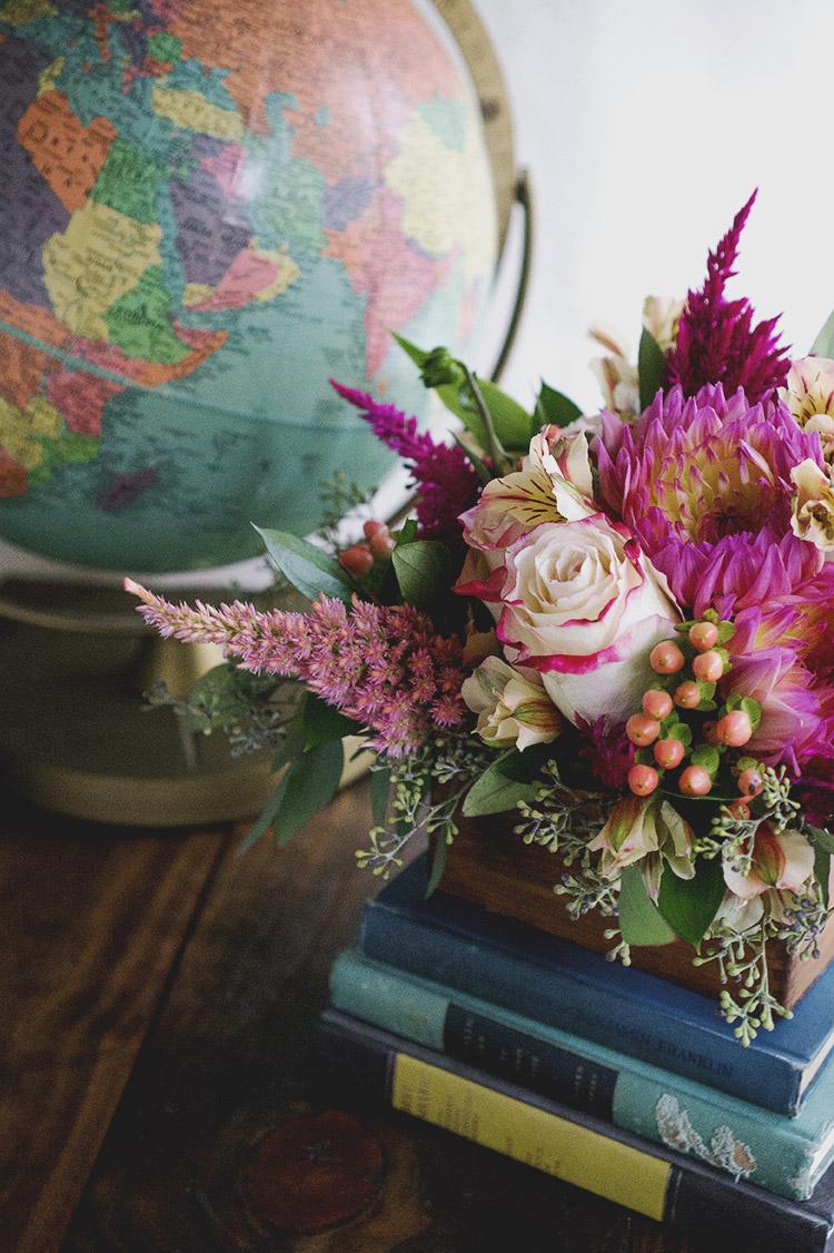 pink rose dahlia celosia arrangement complete